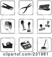 Royalty Free RF Clipart Illustration Of A Digital Collage Of Black And White Desk Item Icons by Frisko