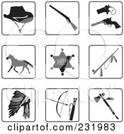 Royalty Free RF Clipart Illustration Of A Digital Collage Of Black And White Old West Icons by Frisko