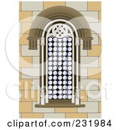 Ornate Window In A Stone Building
