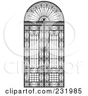 Royalty Free RF Clipart Illustration Of A Wrought Iron Gate Or Window by Frisko