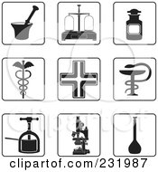 Royalty Free RF Clipart Illustration Of A Digital Collage Of Black And White Pharmacy Icons by Frisko