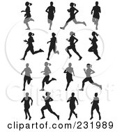 Royalty Free RF Clipart Illustration Of A Digital Collage Of Black And White Women Running