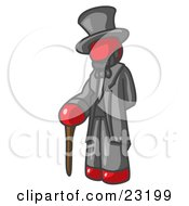 Clipart Illustration Of A Red Man Depicting Abraham Lincoln With A Cane by Leo Blanchette