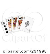 Royalty Free RF Clipart Illustration Of A Royal Flush Of Spades