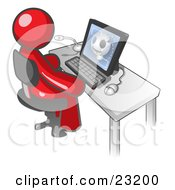 Clipart Illustration Of A Red Doctor Man Sitting At A Computer And Viewing An Xray Of A Head