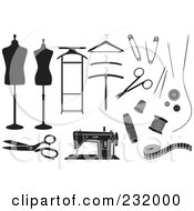 Royalty Free RF Clipart Illustration Of A Digital Collage Of Black And White Sewing Items