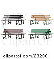 Royalty Free RF Clipart Illustration Of A Digital Collage Of Park Benches