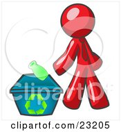 Clipart Illustration Of A Red Man Tossing A Plastic Container Into A Recycle Bin Symbolizing Someone Doing Their Part To Help The Environment And To Be Earth Friendly