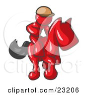Clipart Illustration Of A Red Man A Jockey Riding On A Race Horse And Racing In A Derby