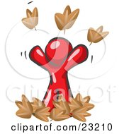 Clipart Illustration Of A Carefree Red Man Tossing Up Autumn Leaves In The Air Symbolizing Happiness And Freedom by Leo Blanchette
