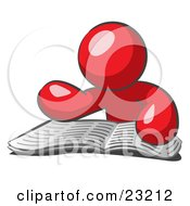 Clipart Illustration Of A Red Man Character Seated And Reading The Daily Newspaper To Brush Up On Current Events