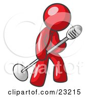 Clipart Illustration Of A Red Man In A Tie Singing Songs On Stage During A Concert Or At A Karaoke Bar While Tipping The Microphone by Leo Blanchette