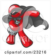 Clipart Illustration Of A Red Man In A Mask And Cape Stealing Belongings In A Bag by Leo Blanchette
