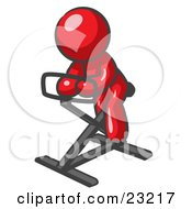 Red Man Exercising On A Stationary Bicycle by Leo Blanchette