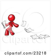 Clipart Illustration Of A Red Man Dropping White Sheets Of Paper On A Ground And Leaving A Paper Trail Symbolizing Waste