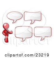 Clipart Illustration Of A Red Businessman With Four Different Word Bubbles