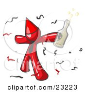 Happy Red Man Partying With A Party Hat Confetti And A Bottle Of Liquor by Leo Blanchette