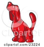 Clipart Illustration Of A Red Tick Hound Dog Howling Or Sniffing The Air