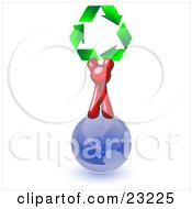 Red Man Standing On Top Of The Blue Planet Earth And Holding Up Three Green Arrows Forming A Triangle And Moving In A Clockwise Motion Symbolizing Renewable Energy And Recycling by Leo Blanchette