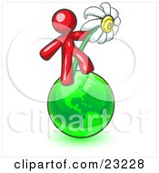 Clipart Illustration Of A Red Man Standing On The Green Planet Earth And Holding A White Daisy Symbolizing Organics And Going Green For A Healthy Environment