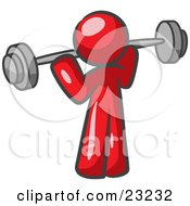 Red Man Lifting A Barbell While Strength Training by Leo Blanchette
