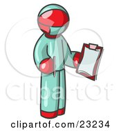 Red Surgeon Man In Green Scrubs Holding A Pen And Clipboard by Leo Blanchette