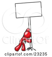 Clipart Illustration Of A Strong Red Man Pushing A Blank Sign Upright
