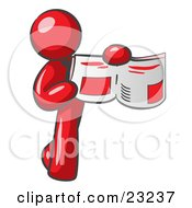 Clipart Illustration Of A Red Man Holding Up A Newspaper And Pointing To An Article