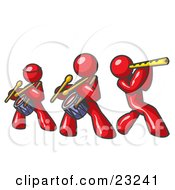 Clipart Illustration Of Three Red Men Playing Flutes And Drums At A Music Concert