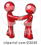 Poster, Art Print Of Red Man Wearing A Tie Shaking Hands With Another Upon Agreement Of A Business Deal