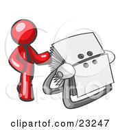Clipart Illustration Of A Red Businessman Standing Beside A Rotary Card File With Blank Index Cards