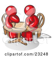 Clipart Illustration Of Two Red Businessmen Sitting At A Table Discussing Papers