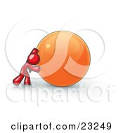 Strong Red Business Man Pushing An Orange Sphere by Leo Blanchette