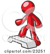 Clipart Illustration Of A Red Man Doing Step Ups On An Aerobics Platform While Exercising