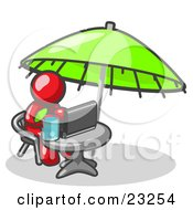 Traveling Red Business Man Sitting Under An Umbrella At A Table Using A Laptop Computer by Leo Blanchette