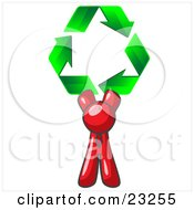 Red Man Holding Up Three Green Arrows Forming A Triangle And Moving In A Clockwise Motion Symbolizing Renewable Energy And Recycling by Leo Blanchette