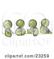 Clipart Illustration Of Four Different Olive Green Men Wearing Headsets And Having A Discussion During A Phone Meeting