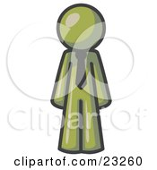 Clipart Illustration Of An Olive Green Business Man Wearing A Tie Standing With His Arms At His Side by Leo Blanchette