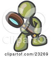 Clipart Illustration Of An Olive Green Man Bending Over To Inspect Something Through A Magnifying Glass