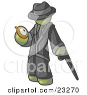 Clipart Illustration Of An Olive Green Businessman Checking His Pocket Watch