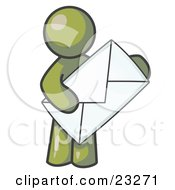 Clipart Illustration Of An Olive Green Person Standing And Holding A Large Envelope Symbolizing Communications And Email by Leo Blanchette