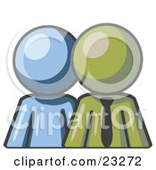 Clipart Illustration Of A Blue Person Standing Beside An Olive Green Businessman Symbolizing Teamwork Or Mentoring