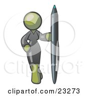 Clipart Illustration Of An Olive Green Woman In A Gray Dress Standing With One Hand On Her Hip Holding A Huge Pen