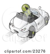Clipart Illustration Of An Olive Green Businessman Talking On A Cell Phone While Driving In A White Convertible Car