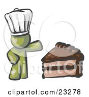 Olive Green Chef Man Wearing A White Hat And Presenting A Tasty Slice Of Chocolate Frosted Cake