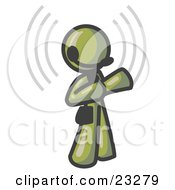 Clipart Illustration Of An Olive Green Customer Service Representative Taking A Call With A Headset In A Call Center