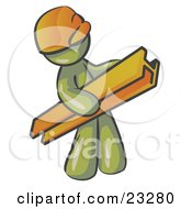 Clipart Illustration Of An Olive Green Man Construction Worker Wearing A Hardhat And Carrying A Beam At A Work Site