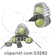 Clipart Illustration Of An Olive Green Judge Man Wearing A Wig In Court