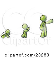 Olive Green Man In His Growth Stages Of Life As A Baby Child And Adult