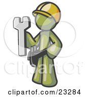 Proud Olive Green Construction Worker Man In A Hardhat Holding A Wrench Clipart Illustration